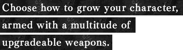 Choose how to grow your character, armed with a multitude of upgradeable weapons.
